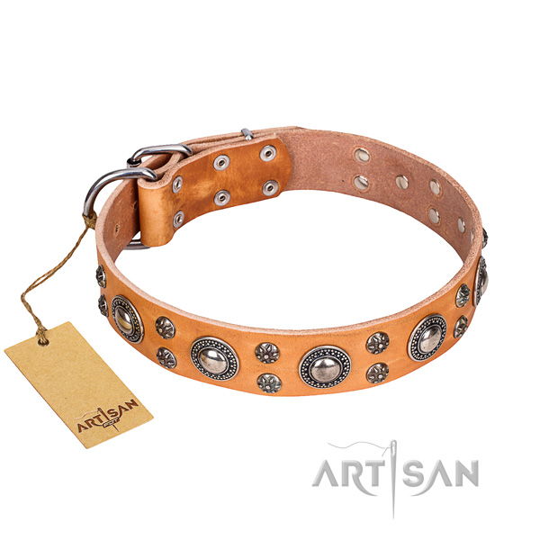 Stunning genuine leather dog collar for handy use
