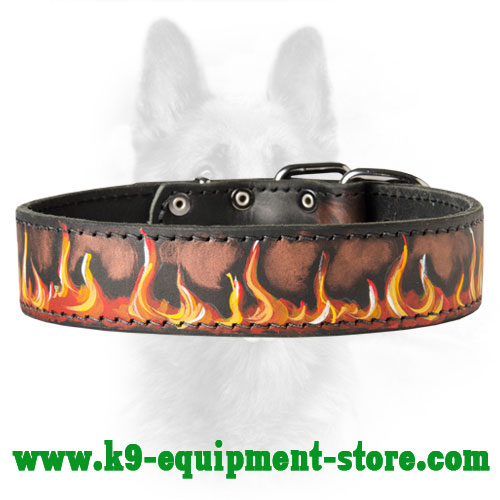 Leather Canine Collar with Bright Water Resistant Painting