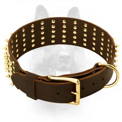 K9 Dog Collar Leather Riveted for Additional Durability