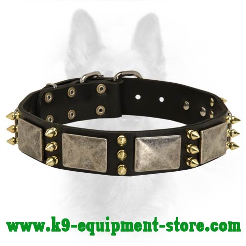 K9 Leather Dog Collar with Rust Resistant Decoration
