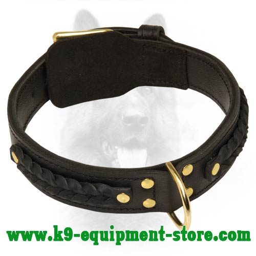 Braided Leather Canine Dog Collar with Fur Saving Plate