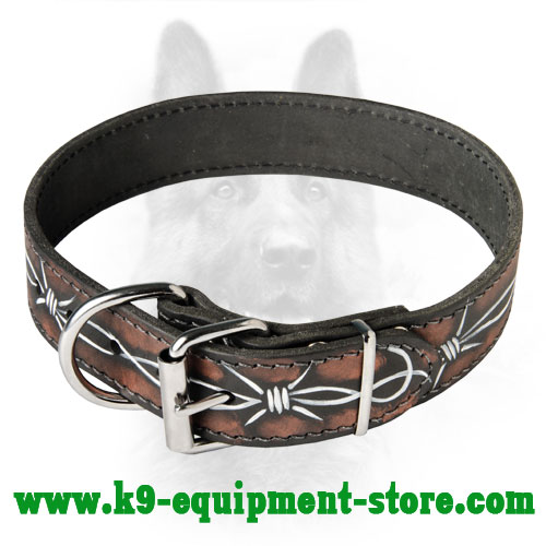 K9 Leather Collar with Durable Buckle and D-ring