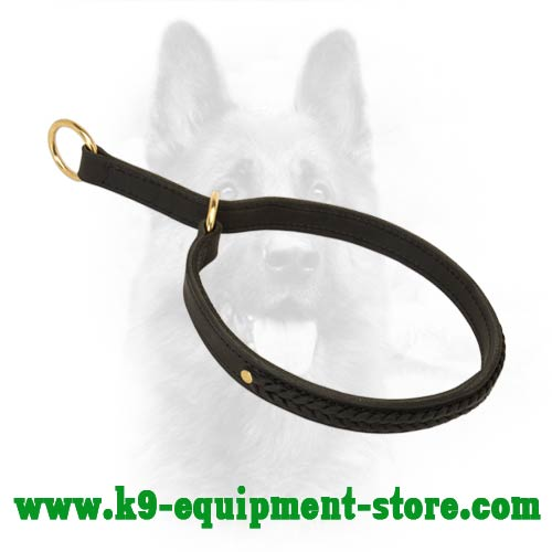 Leather Canine Choke Collar with Stitched O-rings
