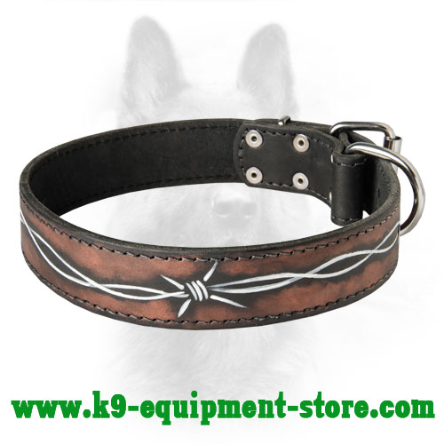 Leather K9 Dog Collar with Painting