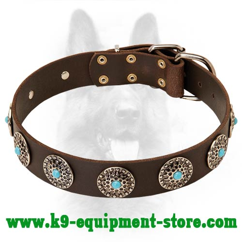 Leather Canine Dog Collar with Nickel Circles and Stones