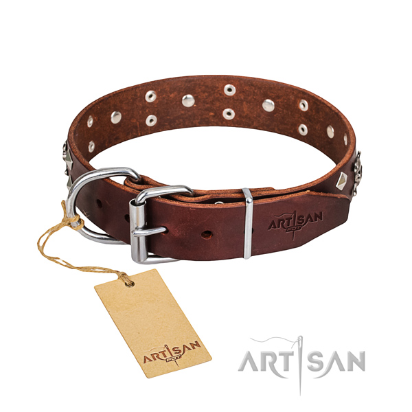Long-wearing leather dog collar with corrosion-resistant hardware