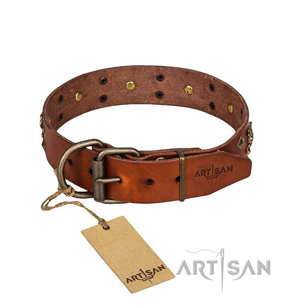 Leather dog collar with smooth edges for comfy daily wearing