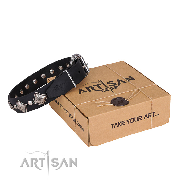 Casual style leather dog collar with luxurious decorations