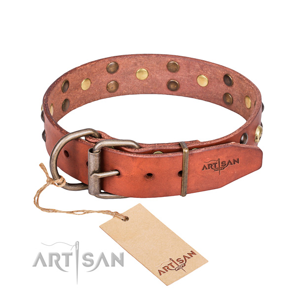 Leather dog collar with rounded edges for comfy strolling
