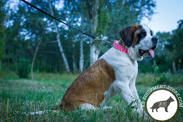 Moscow-Watchdog pink leather collar with rust-free fittings for any activity