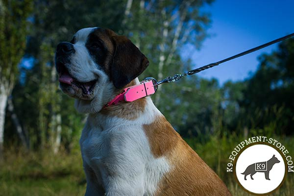 Moscow-Watchdog pink leather collar easy-to-adjust with traditional buckle for any activity