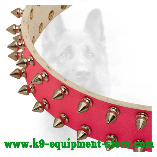 Nickel Fittings on Durable Pink Leather K9 Collar