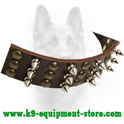 Nickel Spikes and Half Ball Studs Riveted to Police Dog Collar