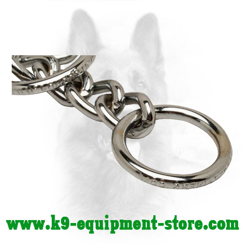 O-ring on Durable Chrome Plated Police Dog Choke Collar