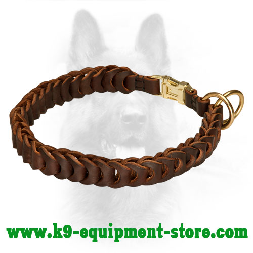 Dog Collar Police Leather Choke Braided