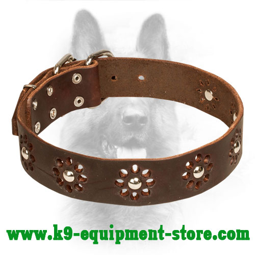 Collar Police Leather Dog Decorated