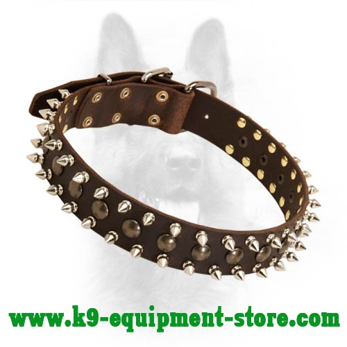 Leather Collar for Police Dog with Spikes and Studs