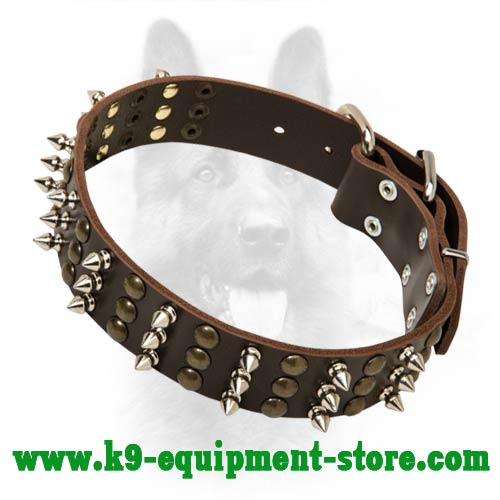 Leather Police Dog Collar for Canine with Firm Fittings