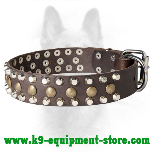 Leather Police Dog Collar with Rust Resistant Fittings