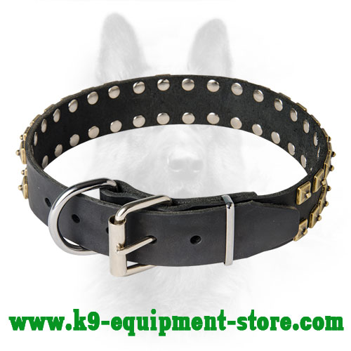 Leather Studded K9 Collar with Rust-proof Buckle and D-ring