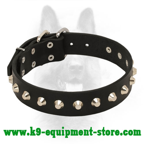 Police Dog Leather Collar for Obedience Training