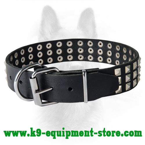 Leather Police Dog Collar with Nickel Buckle and D-ring