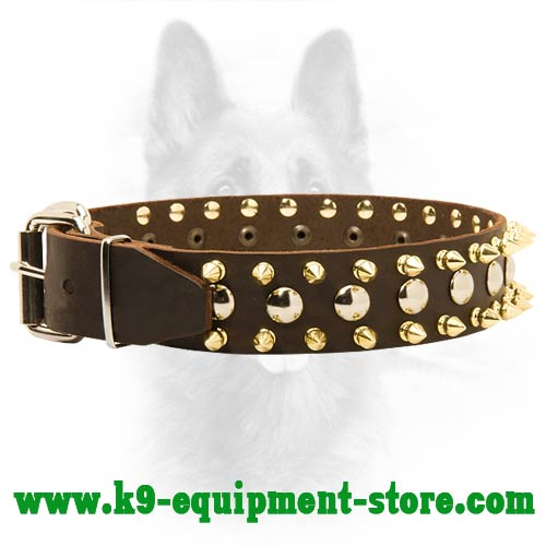 Leather K9 Dog Collar with Nickel Buckle and D-ring