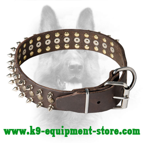 Police Dog Leather Collar with Reliable Hardware