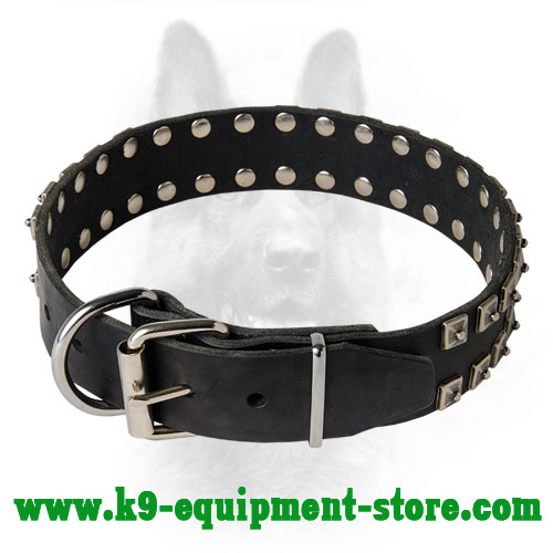 Leather K9 Collar with Nickel Buckle and D-ring