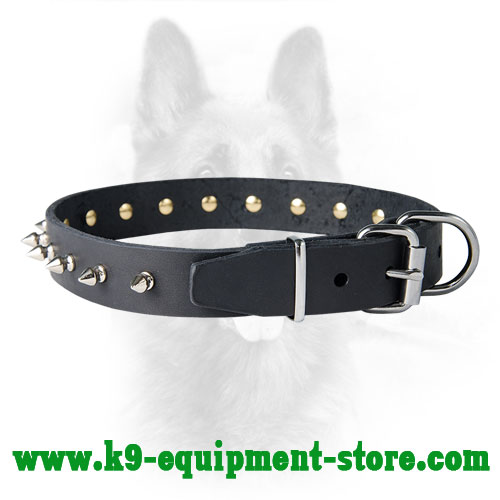 K9 Leather Collar with Ergonomic Nickel Hardware