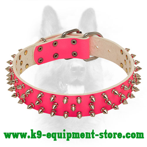 Spiked Pink Leather Collar for K9 Effective Training