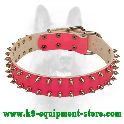 Pink Leather Police Dog Collar with Steel Nickel Plated Decoration