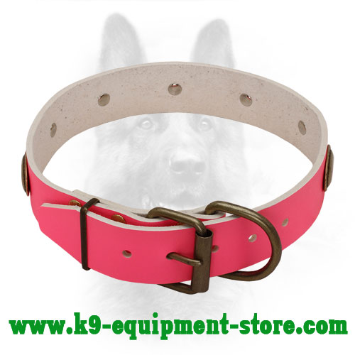 Pink Leather Collar for Police Dog with Riveted Buckle and D-ring
