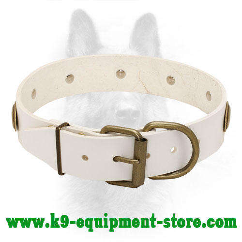 White Leather Collar for K9 with Rust-proof Buckle and D-ring