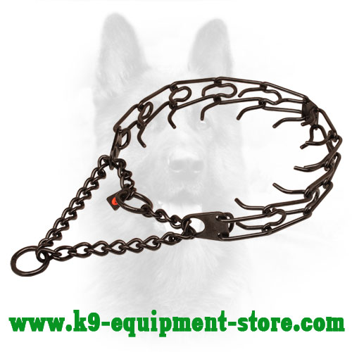 Black Stainless Steel Canine Pinch Collar with 2 Rings