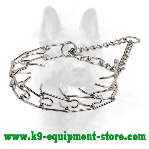 K9 Chrome Plated Pinch Collar for Obedience Training