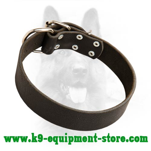 Wide K9 Dog Collar Leather With Rust-proof Hardware