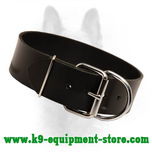 Wide K9 Leather Dog Collar With Rust-proof Buckle and D-ring