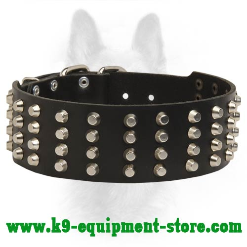 Wide K9 Leather Collar for Obedience and Off Leash Training