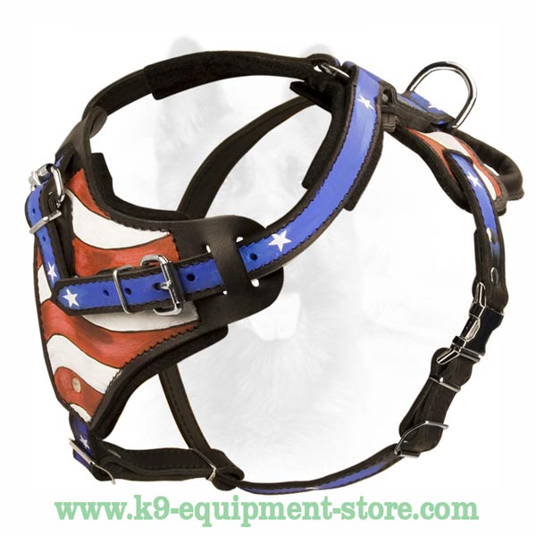 Bright Leather Dog Harness For K9 Dog