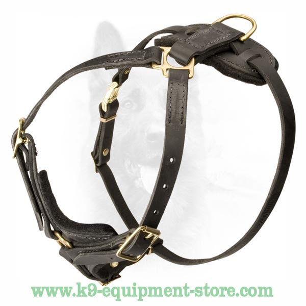 Genuine Leather K9 Dog Harness With 4 Ways Of Adjustment