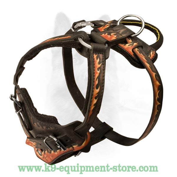 Adjustable Leather Dog Harness With Quick Release Buckle