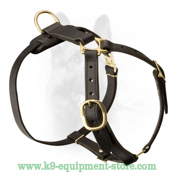 K9 Dog Harness With 2 Ply Leather Neck Straps