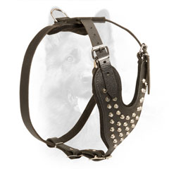 Leather Police Dog Harness with Comfy Chest and Back Plates