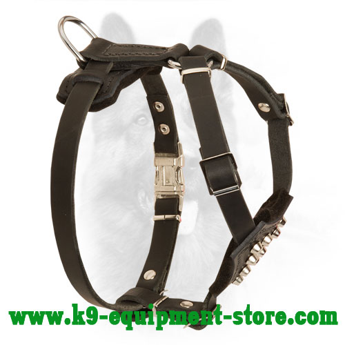 Small Canine Leather Harness Easy-to-put On and Off