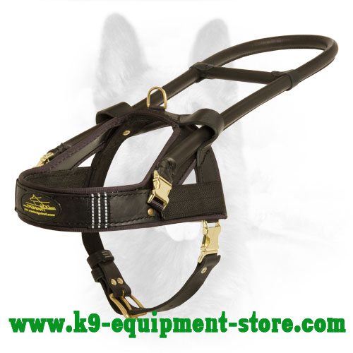 K9 Leather Dog Harness for Guide and Assistance
