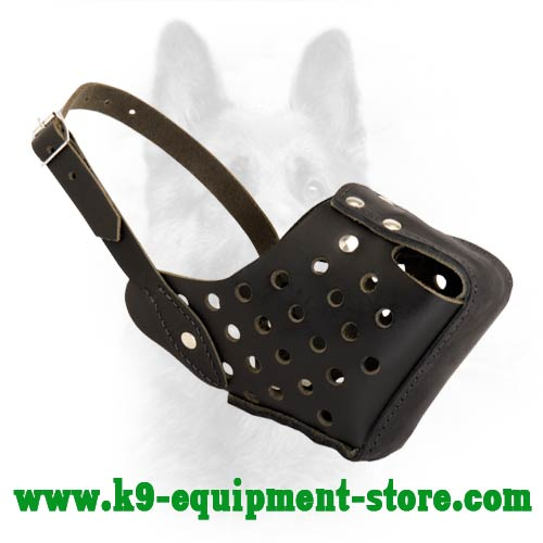 Protection Training Adjustable Leather Canine Muzzle