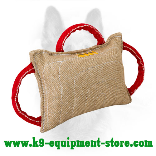 Durable Jute Dog Bite Pillow with Three Handles