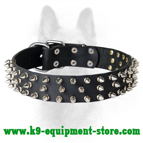 Leather K9 Collar With 3 Rows Of Spikes