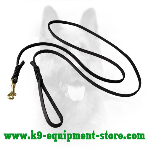 Long K9 Leather Dog Leash with Braided Decorations